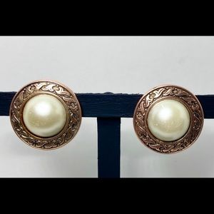 Vintage Copper Pearl Button Clip-on Earrings